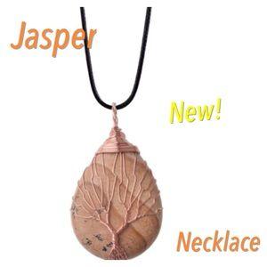 Jasper Stone Pendant Tree of Life Necklace Boho